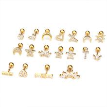 Stainless Steel Ear Bone Nails Zircon Screw Stud Earrings Women's Earrings Piercing Jewelry