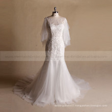 Gorgeous Mermaid Cap Sleeve Bottom Tulle Applique Lace Wedding Gown With Chapel Train