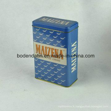 Boîte en étain en métal personnalisée pour thé à la forme rectangulaire
