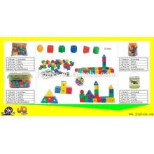 Crianças, escola, aprendizagem, letra, threading, lacing, brinquedos, predios, bloco