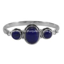 Natürliche Lapis Lazuli Edelstein & 925 Sterling Silber Designer Runde Armreif für Mädchen