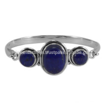 Natural Lapis Lazuli Gemstone & 925 Sterling Silver Designer Round Bangle for Girls