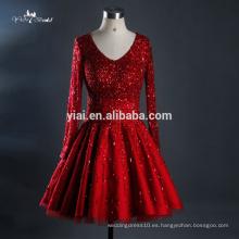 RQ123 2016 Fábrica Venta caliente de alta calidad de una línea de pesados Tulle de lentejuelas vestidos de boda de color rojo