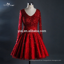 RQ123 2016 Fábrica Hot Sell High Quality A-line Heavy Beaded Tulle Sequin Red Wedding Dresses
