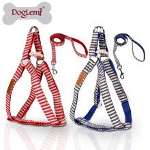 DogLemi Nature Canvas Stripe Design Nylon Leash Material Pet Leash Set Puppy Cat Dog Harness