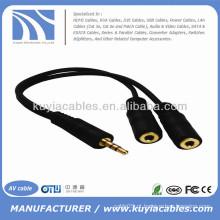 Fone de ouvido estéreo de 3,5 mm macho de áudio para dupla 2 fêmea duplo estéreo cabo divisor de y