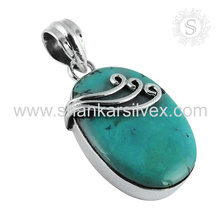 Simple Design Turquoise Pendant Gemstone Silver Jewelry