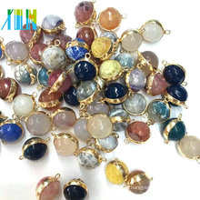 Natural Druzy Agate Geode Round Faced Beads Double Connectors Plated Gold Wrapped Charms For Making Bracelet Pendant Jewelry