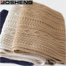 Echarpe tricotée à laine longue à l'hiver Warm Women Echarpe tricot Twist Knitted