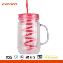 Großhandels20 OZ BPA-freie doppelte Wand als Plastikmason-Glas mit Handgriff