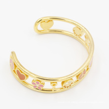 IP Gold Plating Open Cut out Cuff with Enamel