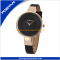 Japan Quartz Movement Watch for Ladies with Genuine Leather Band
