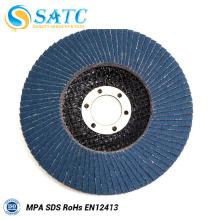disco de flaps abrasivo calcinado de respaldo de fibra de vidrio para pulir