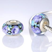 Joyería europea de la pulsera de los granos de cristal de Murano de la base 925