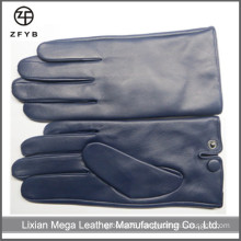 Navy blue color men's leather gloves in leather gloves&mittens