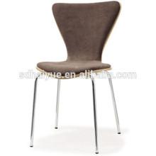 2017 popular tela de madera que cubre la silla de comedor de silla de comedor de amortiguación suave con piernas de acero cromado HY2018-1