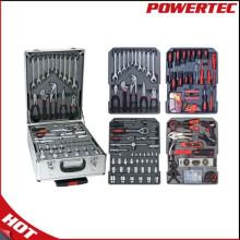 Kit de herramientas de mano Powertec 186PCS con caja de aluminio