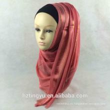 Las mujeres de moda borlas llanuras mujeres musulmanas cabeza chal bufanda Gilter lentejuelas de algodón Hijab