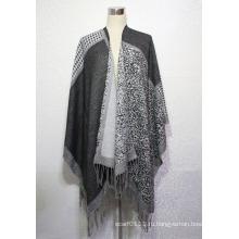 Женская мода акриловые Жаккардовые зима теплая бахрома шали (YKY4497)