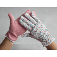lady garden working gloves coated with pvc dots on palm