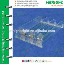 Divisor de prateleiras de plástico transparente e empurrador