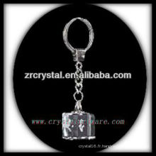 Keychain en cristal de LED avec l'image gravée par laser 3D à l'intérieur et le keychain en cristal blanc G026