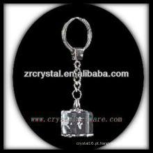 Chaveiro de cristal LED com imagem 3D gravado a laser dentro e em branco chaveiro de cristal G026