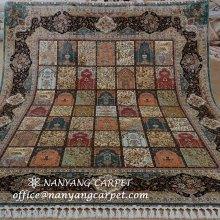 8'x10' Handmade Tabriz Persian Silk Rug Garden Scene