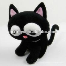 lindo pelúcia preto recheado brinquedos gato animado