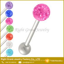 Barbells da língua de Ferido da bola do disco do strass cor-de-rosa de aço inoxidável únicos