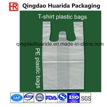 Benutzerdefinierte Größe und Dicke HDPE / LDPE Kunststoff Weste Taschen zum Einkaufen