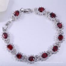 Cadeau de Thanksgiving bijoux grenat cz laiton bracelet avec rhodié