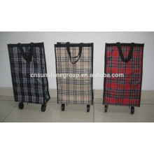 Folding shopping bag on two wheels/Shopping trolley for promotion