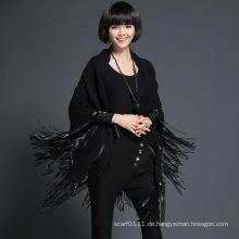 Lady Fashion Leder Quaste Viskose Polyester Strick Schwarz Schal (YKY4528)