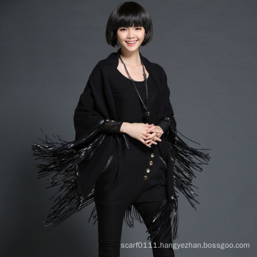 Lady Fashion Leather Tassel Viscose Polyester Knitted Black Shawl (YKY4528)