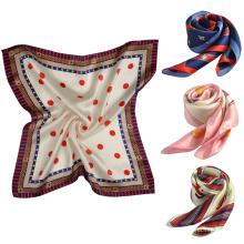 Excelente sensação de seda elegante cachecol lenço quadrado turco atacado