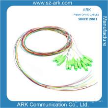 12 Pigtail colorido de la fibra óptica con el conectador de Sc / APC