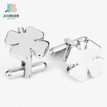 Factory Free Design Promotional Metal Crafts Custom Silver Flower Cufflink