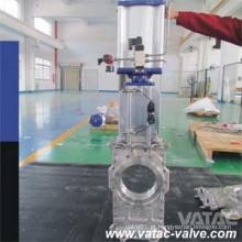 Vatac Wcb / Lcb / Wc6 / Ss304 / Ss316 através da válvula de porta da faca da canalização com bolacha / talão terminam
