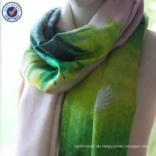 Natürliche Digitaldruck Geschenk Bestellung Vier Jahreszeiten Design Hohe Qualität Jacquard 50% Wolle + 50% Seidenschal Stola SWW793