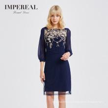 China manufacturer navy blue chiffon embroidered short evening dresses