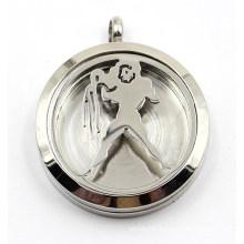 Aquarius Magnet Style Stainless Steel Perfume Diffuser Locket Pendant