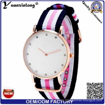 Yxl-251 Simple Design Hot Flag Stripe Nylon Strap Watch Women Gold Case Quartz Watches Men Unisex Wristwatch Fashion Casual Sport Reloje