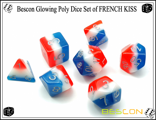 Bescon Glowing Poly Dice Set of FRENCH KISS-4
