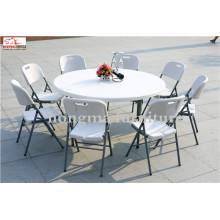 Mesa de jantar de plástico de 5 pés Banquete de dobramento na mesa ao ar livre