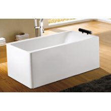 Vertical Rectangle Simple Freestanding Bathtub with Pillow