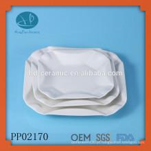 Placas de cerâmica branca quadrada com embalagem segura, conjunto de placas quadradas, placas de restaurante quadrado