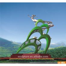 2016 Новая нержавеющая сталь Современная абстрактная зеленая скульптура для ландшафтной скульптуры сада