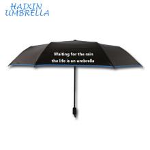 Populaire à la mode en Chine noir revêtement Paraguas Sun Daisy Design à l'intérieur pas cher personnalisé impression Slogan parapluie avec Logo Prints