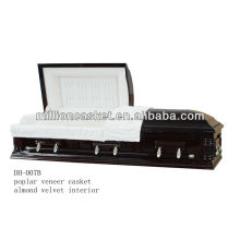 poplar veneer wooden casket with adjustable bed